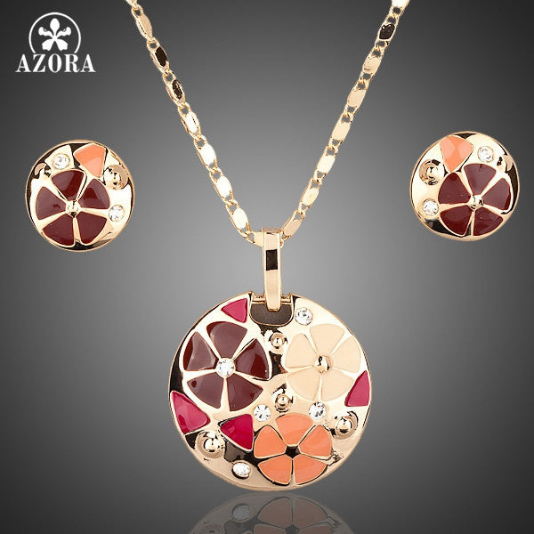 AZORA Gold Color with Multicolored Flower Design Jewelry Sets