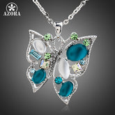 AZORA White Gold Color Multicolored Stellux Austrian Crystal Butterfly Pendant Necklace