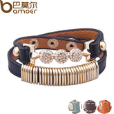 BAMOER Gold Color Genuine Leather with Crystal Fashion Bracelet