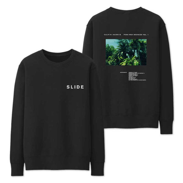CALVIN HARRIS 'SLIDE' BLACK CREWNECK