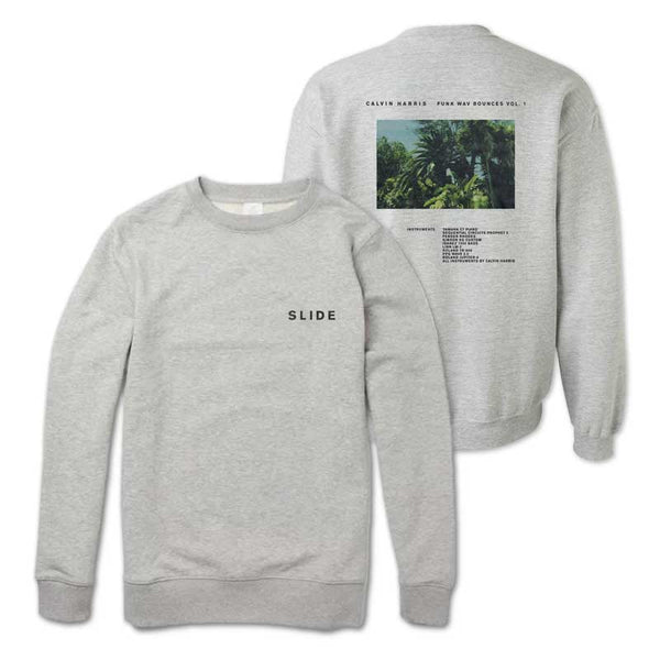 CALVIN HARRIS 'SLIDE' HEATHER GREY CREWNECK