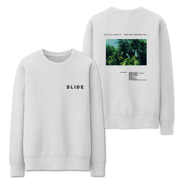 CALVIN HARRIS 'SLIDE' WHITE CREWNECK