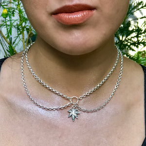 Leaf Layer Silver Choker