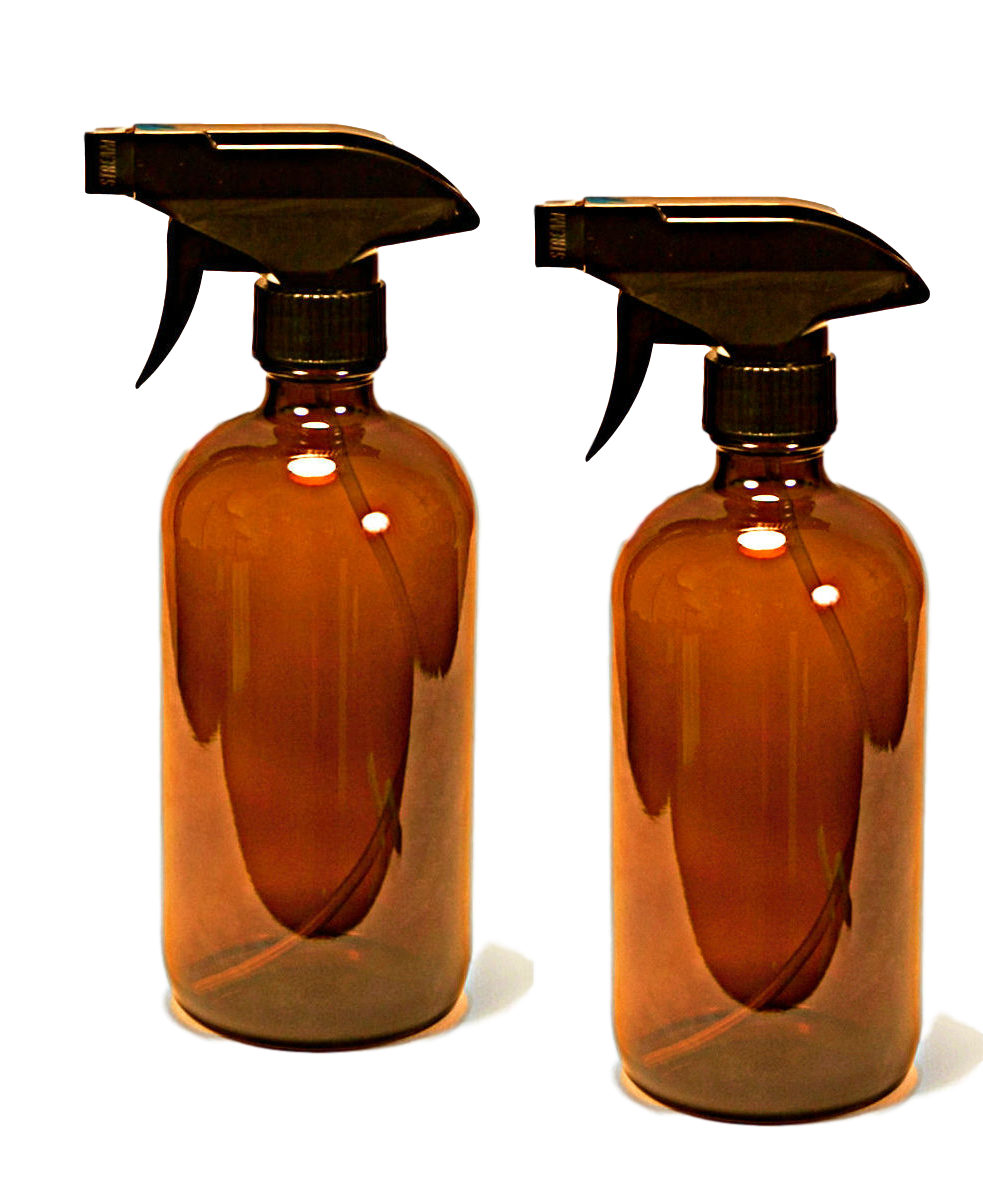 16 oz Amber Bottle with Black Spray Nozzle by Oils For Everything