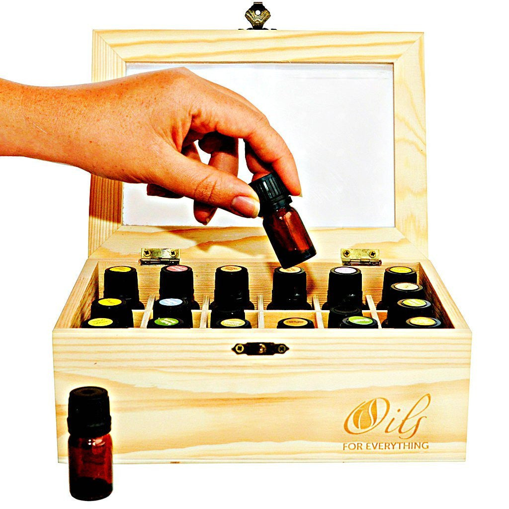 New Essential Oils Wooden Box By Oils for Everything Showcases and Holds 24 Essential Oil Bottles 5ml - 15ml with See Through Window