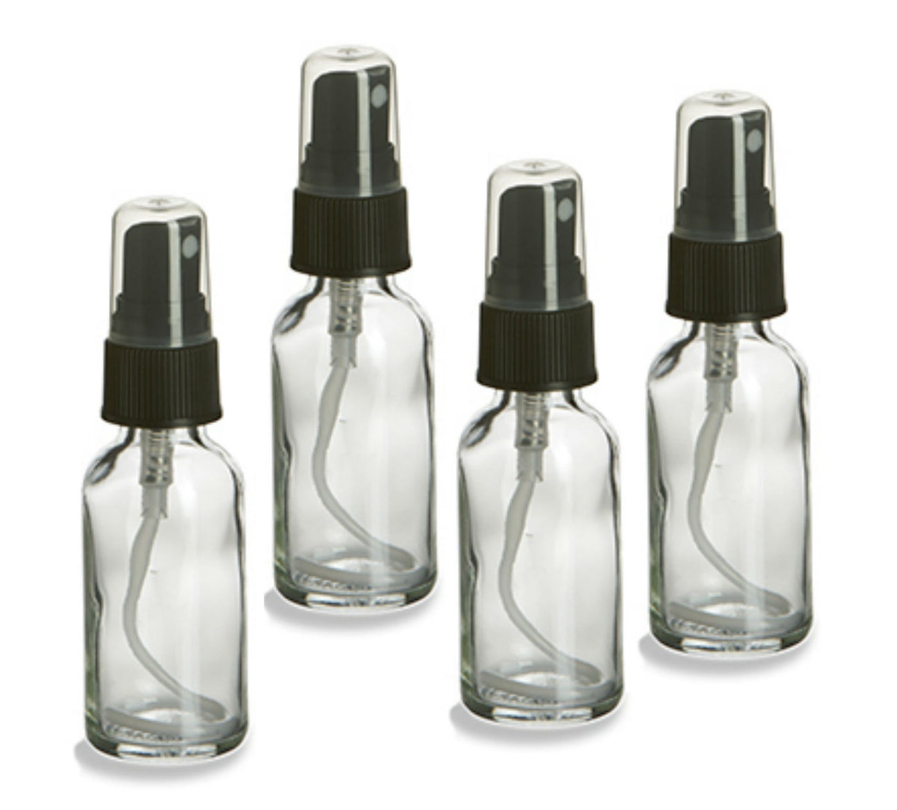 2oz Glass Spray Bottles - Pack of 4 Clear Bottles with Caps
