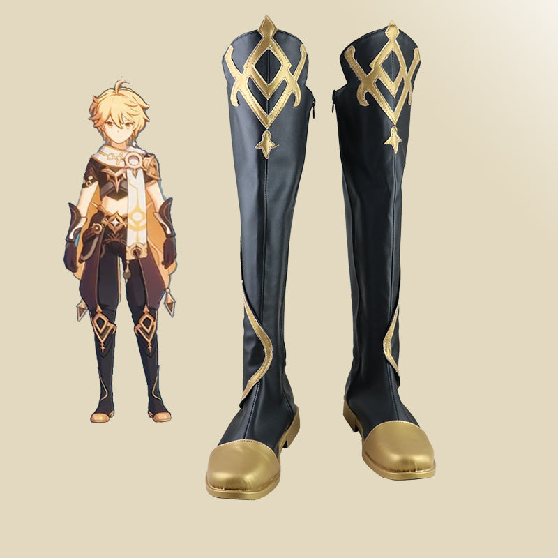 Genshin Impact Traveler Aether Cosplay Shoes Boots Halloween Carnival Cosplay Costume Accessories