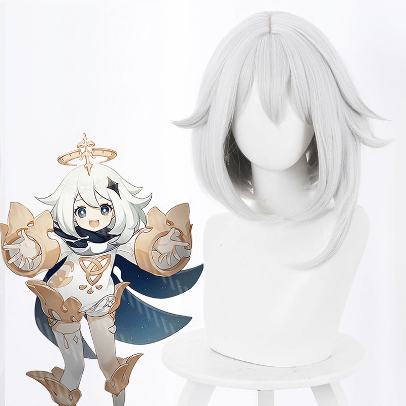 Genshin Impact Paimon cosplay Wig white short hair Heat Re sistant Synthetic Hair