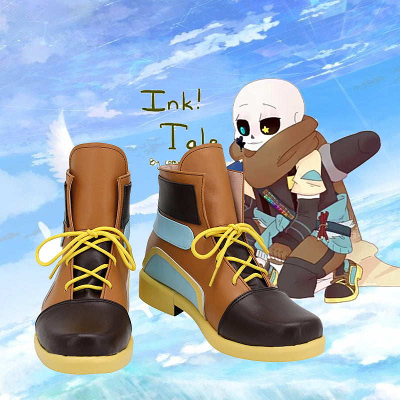 Undertale inksans Cosplay Shoes Boots Anime Undertale inksans Cosplay Boots Brown Shoes Custom Made Halloween Party