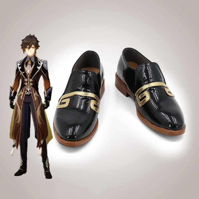 Genshin Impact Zhongli Cosplay Shoes Custom Made Halloween Carnival Cosplay Costume Accessories