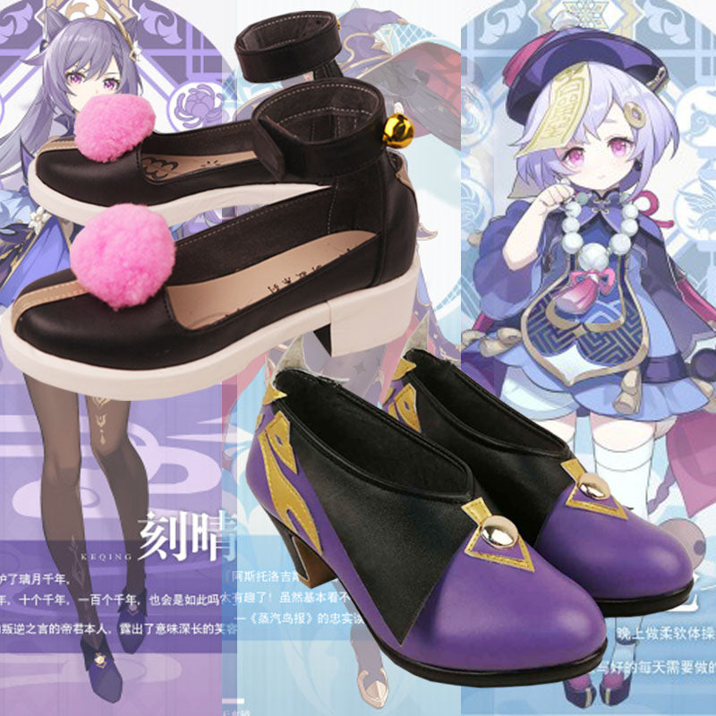 Genshin Impact Keqing Qiqi Cosplay Shoes