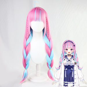 VTuber Hololive Minato Aqua Wig Cosplay Mixed Blue Pink Braids Styled Synthetic Hair Halloween Party Wigs + Wig Cap