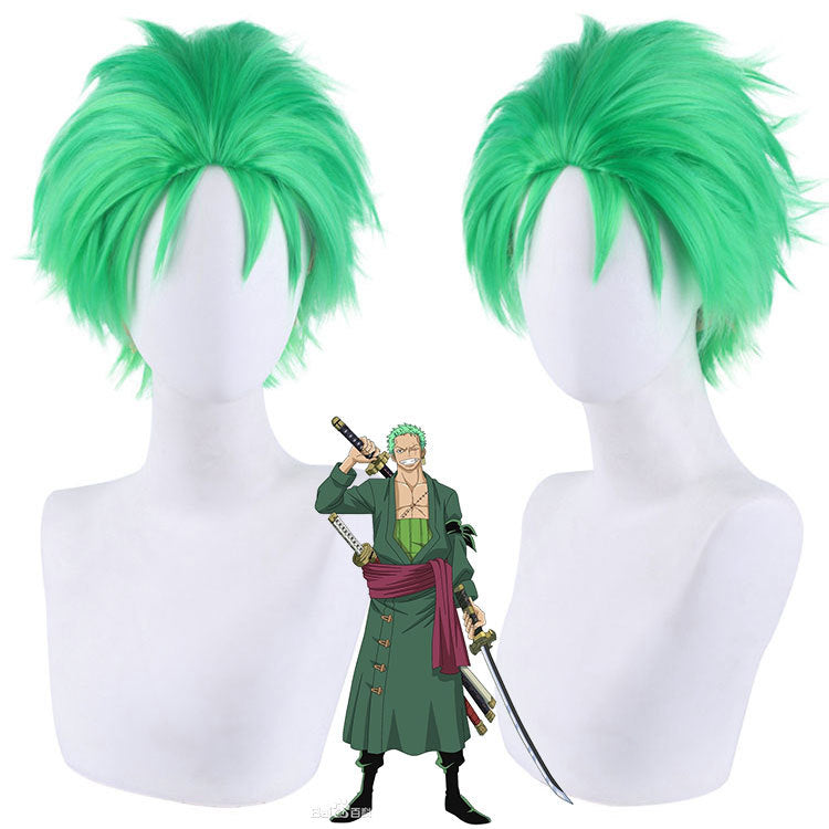 Anime One Piece Roronoa Zoro Cosplay Wig Green Short