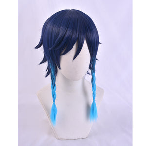 Genshin Impact Venti Cosplay Unisex 50cm Blue Wig Cosplay Anime Cosplay Braid Wigs Heat Resistant Synthetic Wigs Halloween
