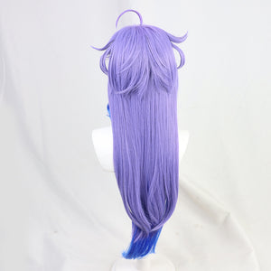 Genshin Impact Ganyu Cosplay Wig Gradient Purple Blue Long Straight Halloween Party Temples Heat Resistant Hair