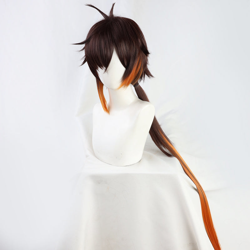 Genshin Impact Zhongli Wig Cosplay Straight Gradual Brown Orange Ponytail Heat Resistant Hair