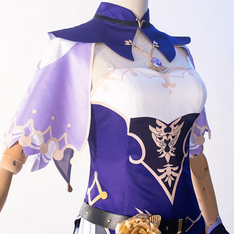 Game Genshin Impact Lisa Witch of Purple Rose Cosplay Costume The Librarian Sexy Dress