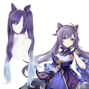 wig Game Genshin Impact Keqing Cosplay Wigs Ponytails Mixed Purple Cosplay Wig with Ears Heat Resistant Synthetic Hair