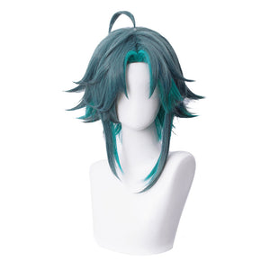 Genshin Impact Xiao Wig Cosplay Mixed Dark Blue Short Middle Part Heat Resistant Hair Adult Halloween Role Play