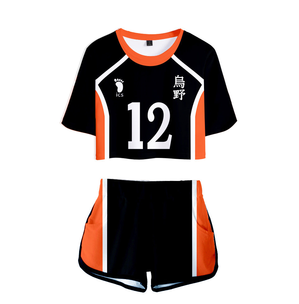 Anime Haikyuu Cosplay Costume Aoba Johsai High School Volleyball Club Oikawa Tooru Tracksuit Women Two Piece Set Tops and Shorts