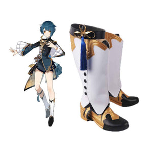 Genshin Impact Xingqiu Cosplay Shoes Boots Halloween Carnival Cosplay Costume Accessories
