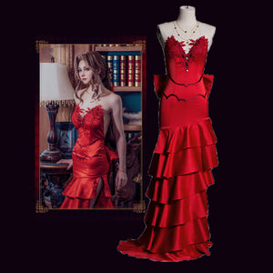 Final Fantasy VII 7 Remake Alice Role Play Red Dress Outfit Elegant Lovely Cosplay Costume Halloween Party Suit