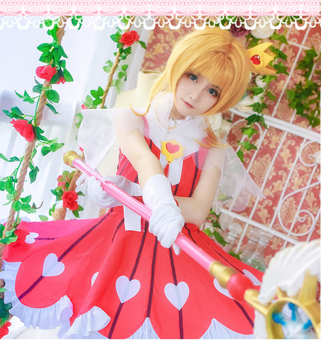 Sakura Clear Card Cosplay Card Captor Sakura OP2 Rose Gamble suit cosplay costume Dress