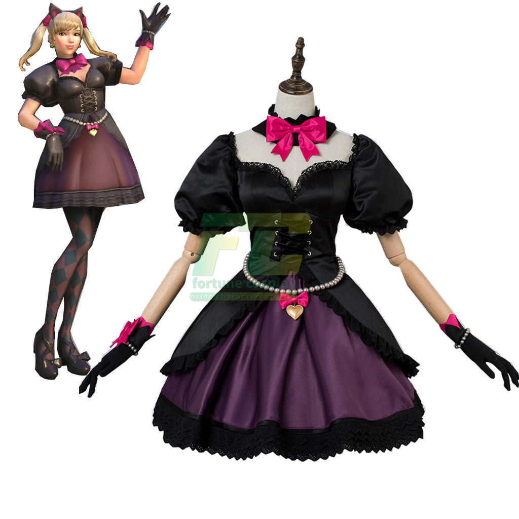 OW overwatch D.va Black Cat Skin Cosplay Costume DVA Lolita Dress