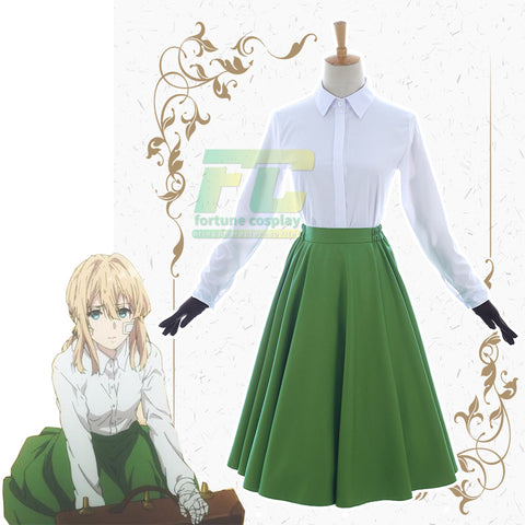 Violet Evergarden Green Dress Uniform Cosplay Costume
