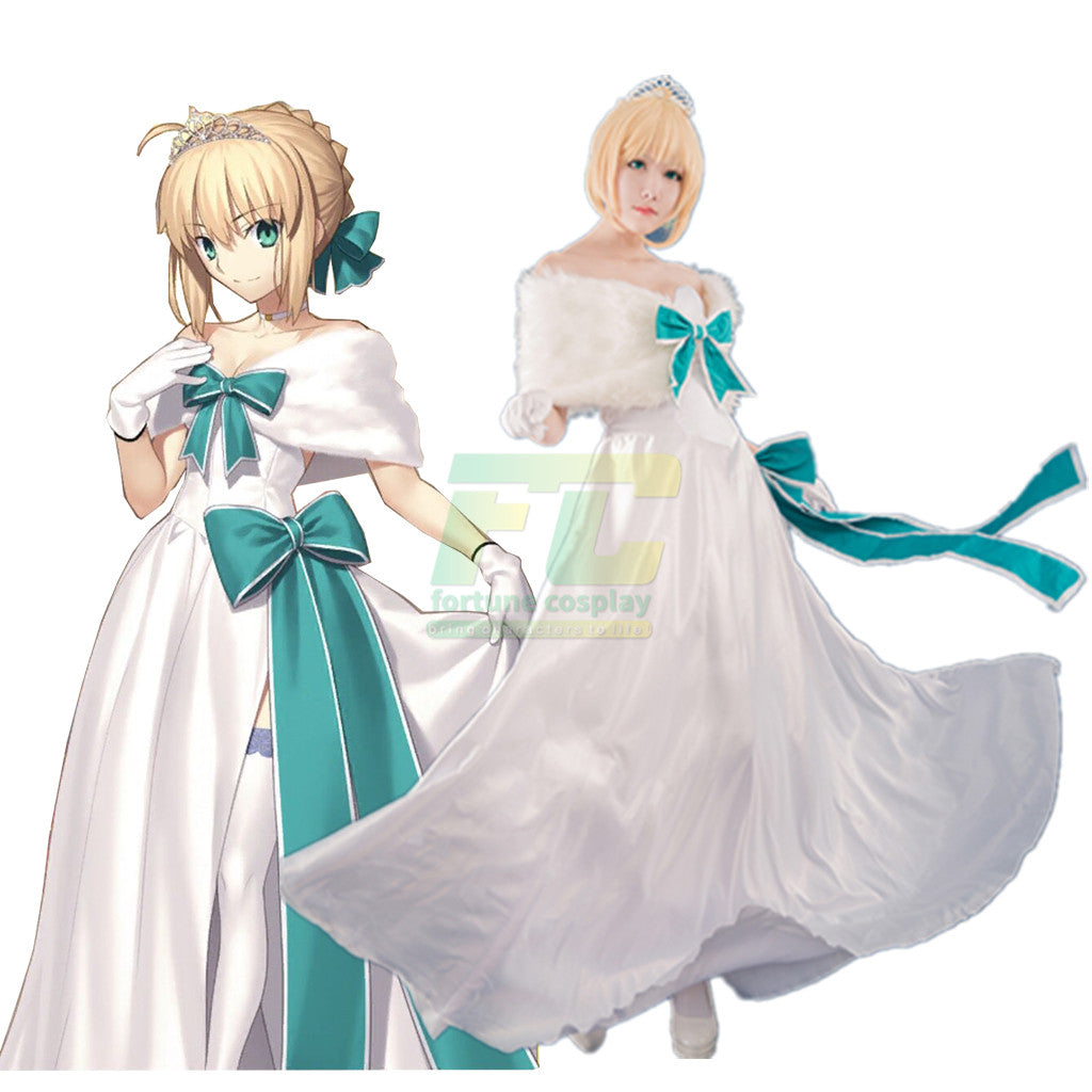 FGO Fate Grand Order 2nd Saber White Gown Dress Outfit Cosplay Costumes