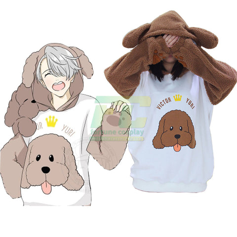 YURI on ICE Victor Makkachin Poodle Cosplay Hoodie Coat Top