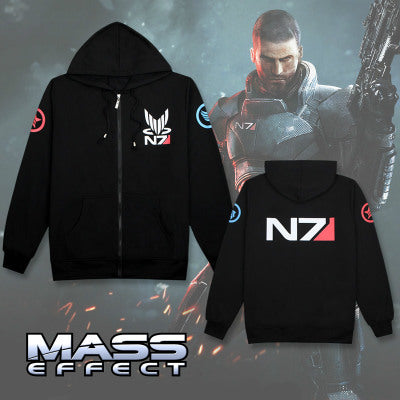 Hoodies Men Sweatshirt Zipper Breasted Mass Effect Tracksuit Cardigan Jacket  Sweatshirts Hoodie