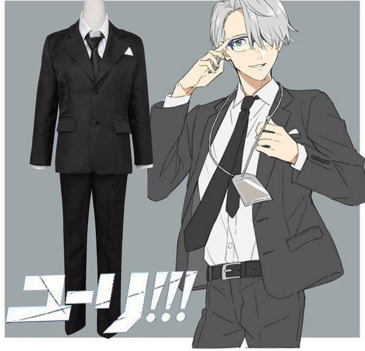 Yuri On Ice Viktor Victor Nikiforov coaching Costume Cosplay Black Suit