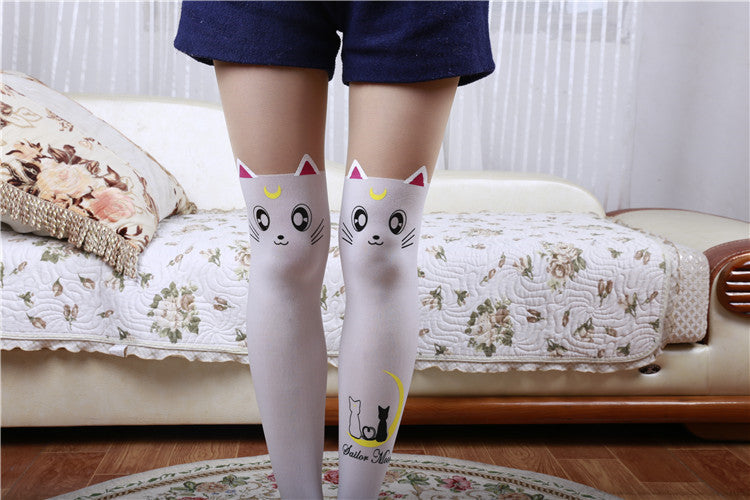a46cd9c9f75 ... Fake Thigh High Tights Sailor Moon Cosplay 20th Anniversary Luna Cat  Pattern Pantyhose Stockings