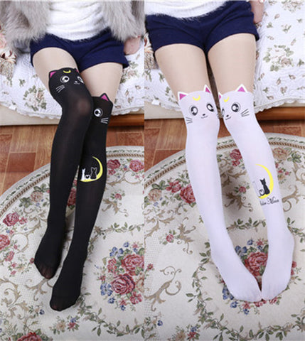 Fake Thigh High Tights Sailor Moon Cosplay 20th Anniversary Luna Cat Pattern Pantyhose Stockings