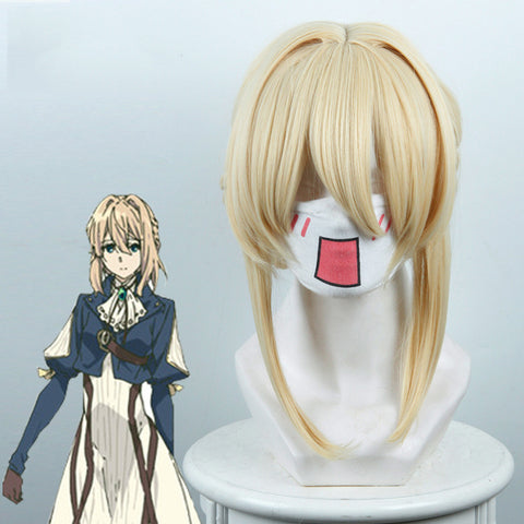 Violet Evergarden Blonde Long Synthetic Hairstyled Cosplay Wigs
