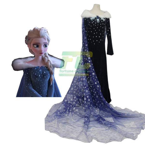 Olaf's frozen adventure Elsa Cosplay Costume