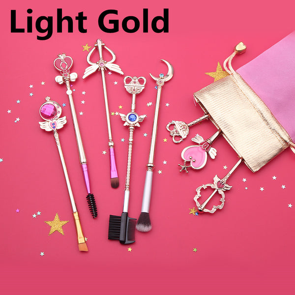 8PCS Sailor Moon Cosplay Wand Makeup Brushes Tool Professional Portable Brush Kit Powder Cosmetic