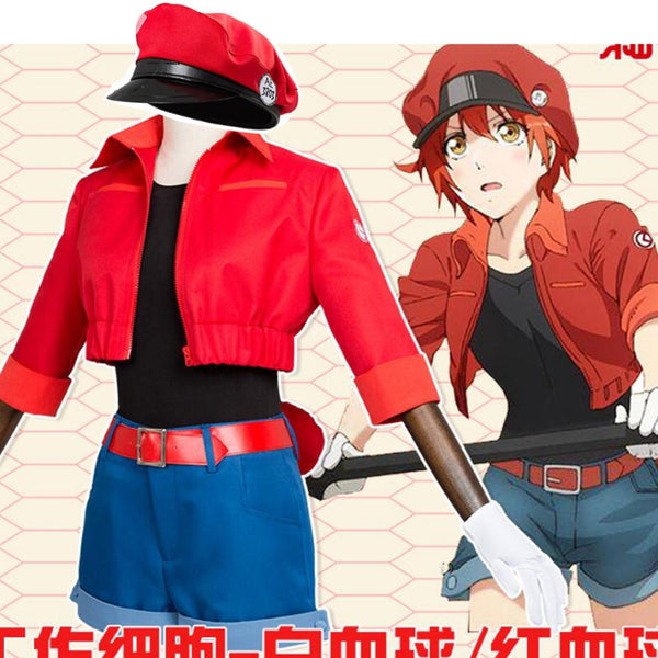 Cells at Work Hataraku Saibou Erythrocite Red Blood Cell Cosplay Costume