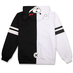 Anime Danganronpa Monokuma Cosplay Costume Unisex Hoodie Sweatshirt Hooded Black White Bear Long Sleeve daily casual coat Jacket
