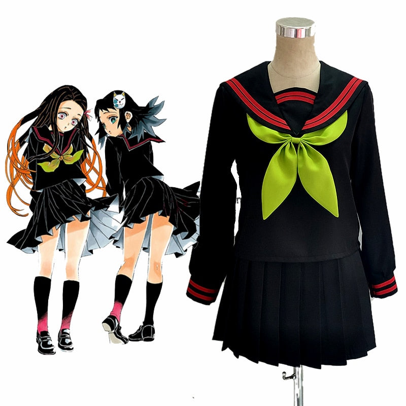Anime Demon Slayer Kimetsu no Yaiba Cosplay Nezuko Kamado Makomo Cosplay Costume JK School Uniforms Sailor Suit Girls Women