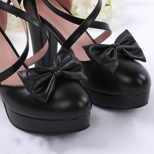 Game OW DVA Black Cat Cosplay Shoes Black Bowknot High Heels Costume-made Size