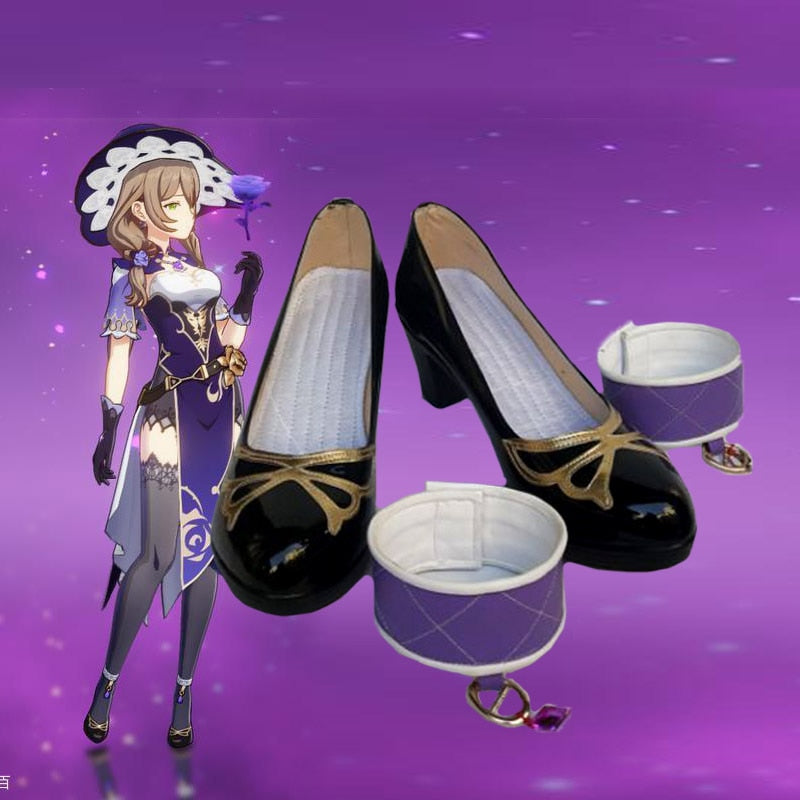 Anime Genshin Impact Mondstadt Lisa Princess Shoes Women Girls Student High Heels Shoes Xmas Gifts Cosplay Props
