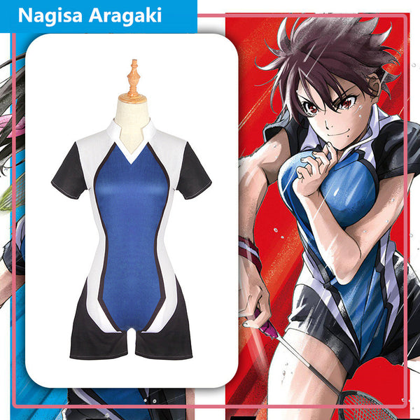Hanebado Ayano Hanesaki Nagisa Aragaki Badminton Play Racing Suit Jumpsuit Uniform Cosplay Costume