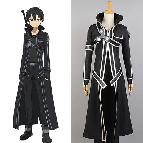 Sword Art Online Kazuto Kirigaya kirito Black Uniform For Men Cosplay Costume