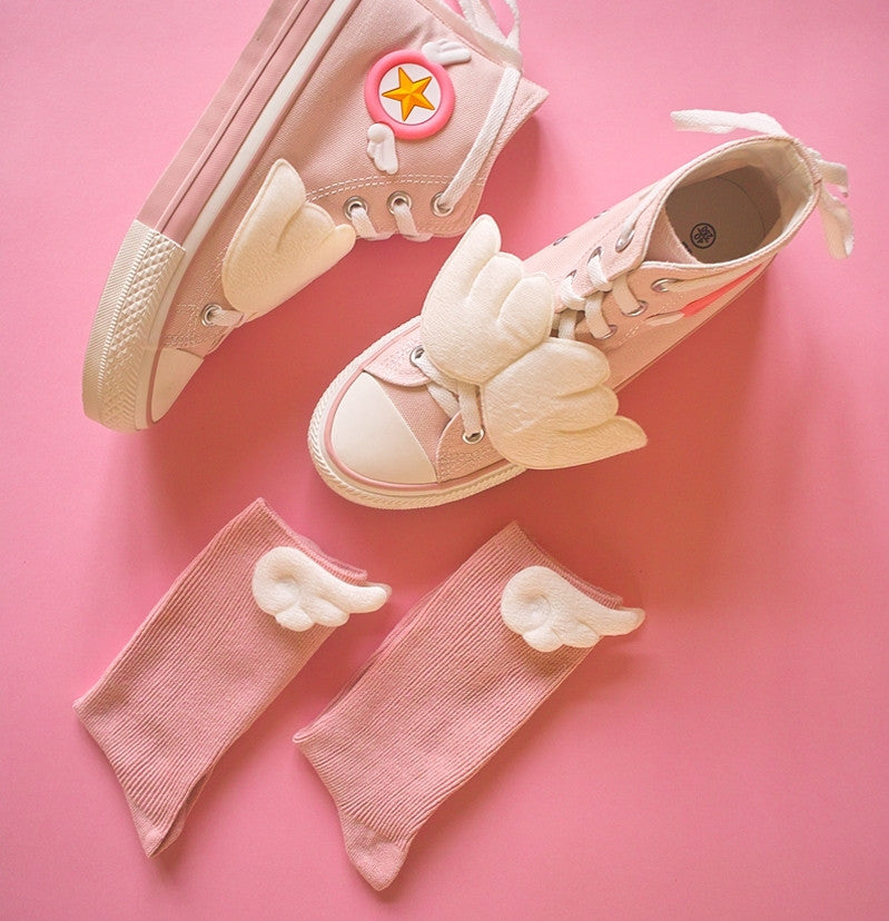 Cardcaptor Sakura Magic Girl KINOMOTO SAKURA Cosplay Shoes Sneakers With Socks