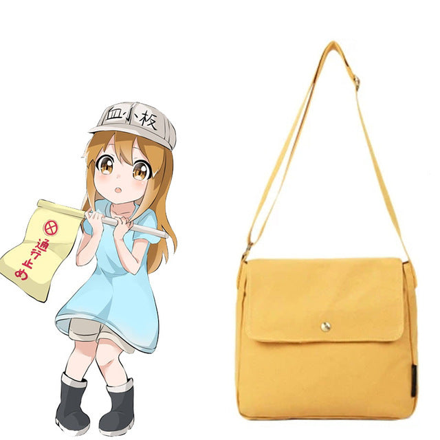 Cells At Work Cosplay Platelet Costume Only Bag Yellow Leather Accessories Props