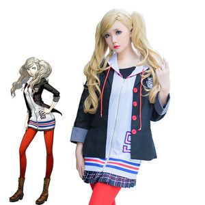 Persona 5 Anne Takamaki Panther Hoodie Coat School Uniform Outfit Cosplay Costume