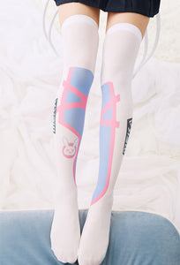 Cosplay Game OW DVA Thigh Stockings Lolita Printed Pantyhose D.VA Over Knee Socks Costume