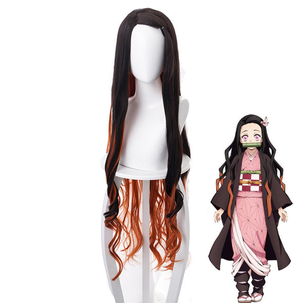 Demon Slayer Kimetsu no Yaiba Kamado Nezuko Long Curly Wig Cosplay